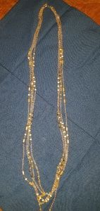 Gold and pink tones long necklace